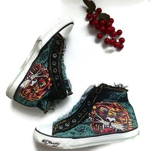 ED HARDY Distressed grunge retro Tiger sneakers